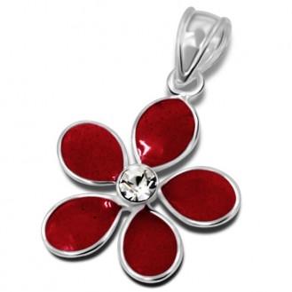 """Dětský stříbrný přívěsek s jedním krystalem """"Květina - červená"""". Ag 925/1000"""